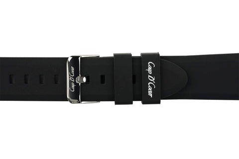 Watch Straps - Black Rubber (Silver Buckle) (TWS001)