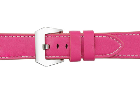 Watch Straps - Pink Leather (Silver Buckle) (TWS001)