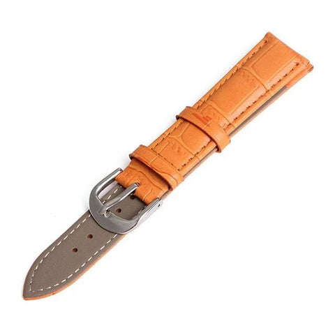 Image of White / Orange / Red / Pink / Blue / Purple / Green / Brown / Black Leather Watch Band With Silver Buckle (TWS050)