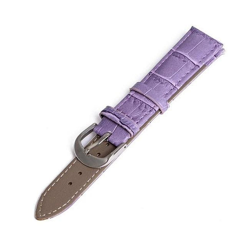 White / Orange / Red / Pink / Blue / Purple / Green / Brown / Black Leather Watch Band With Silver Buckle (TWS050)