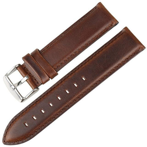 White / Red / Blue / Brown / Black Leather Watch Band With Silver / Rose Gold Buckle (TWS144)