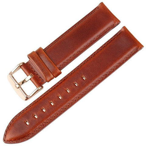 Image of White / Red / Blue / Brown / Black Leather Watch Band With Silver / Rose Gold Buckle (TWS144)