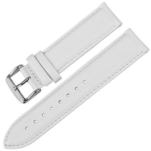 White / Red / Blue / Brown / Black Leather Watch Strap With Silver / Rose Gold Buckle (TWS144)