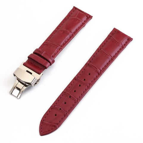 White / Red / Pink / Blue / Dark Blue / Purple / Green Leather Watch Band With Silver Deployant Clasp (TWS147)