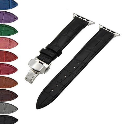 Image of White / Red / Pink / Blue / Purple / Green / Brown / Grey / Black Leather Watch Band with Deployant Buckle (For Apple Watch) (TWS156)