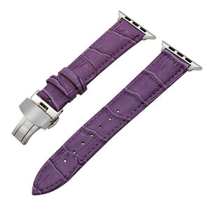 White / Red / Pink / Blue / Purple / Green / Brown / Grey / Black Leather Watch Band With Deployant Buckle (For Apple Watch) (TWS156)