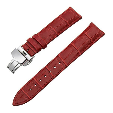 Image of White / Red / Pink / Blue / Purple / Green / Brown / Grey / Black Leather Watch Band With Silver Deployant Clasp (TWS043)