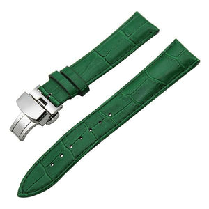 White / Red / Pink / Blue / Purple / Green / Brown / Grey / Black Leather Watch Band With Silver Deployant Clasp (TWS043)