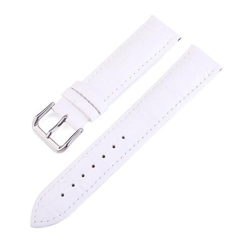White / Red / Pink / Blue / Purple / Green Leather Watch Band With Silver Buckle (TWS087)