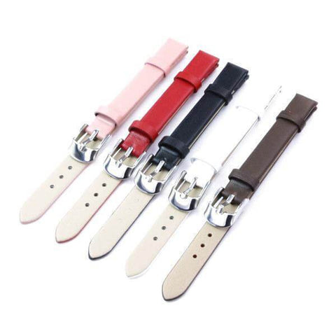 Image of White / Red / Pink / Brown / Black Leather Band With Silver Buckle (TWS102)