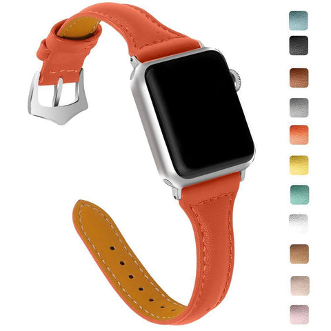 White / Yellow / Orange / Blue / Green / Beige / Brown / Grey / Black Leather (For Apple Watch) (TWS025)