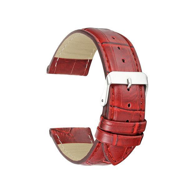 White / Yellow / Orange / Red / Pink / Blue / Purple / Brown / Black Leather Watch Band With Silver Buckle (TWS140)