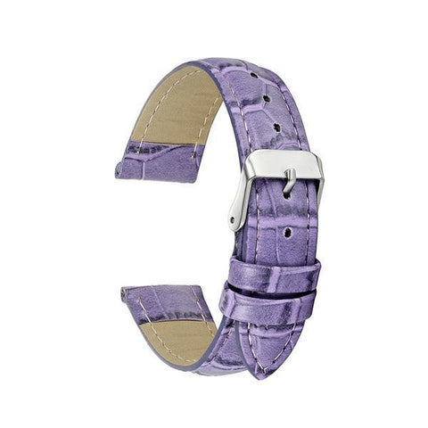 Image of White / Yellow / Orange / Red / Pink / Blue / Purple / Brown / Black Leather Watch Band With Silver Buckle (TWS140)