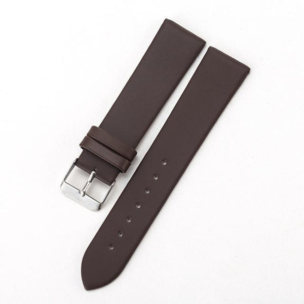 White / Yellow / Red / Pink / Blue / Brown / Black Leather Watch Band With Silver Buckle (TWS084)