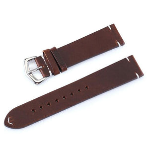Yellow / Brown / Black Leather Watch Band With Silver Buckle (TWS086)