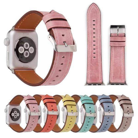 Yellow / Orange / Pink / Blue / Green / Brown Leather Watch Band (For Apple Watch) (TWS031)