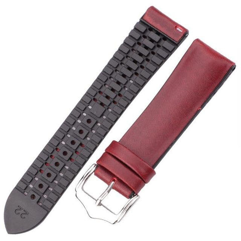 Image of Yellow / Red / Blue / Green / Brown / Black Hybrid Leather and Rubber Watch Band (Quick Release Pin) (TWS152)