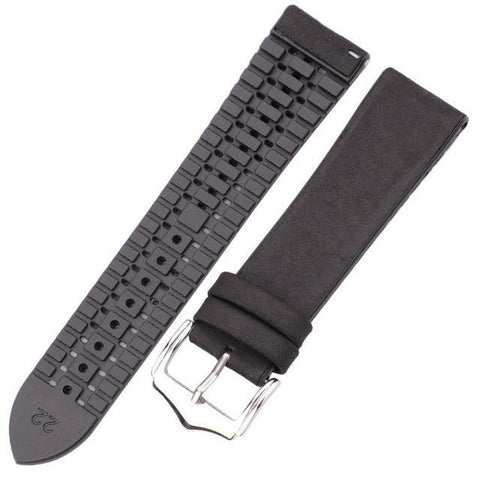 Yellow / Red / Blue / Green / Brown / Black Hybrid Leather and Rubber Watch Band (Quick Release Pin) (TWS152)