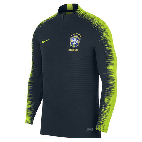 NIKE BRAZIL VAPORKNIT STRIKE DRILL TOP FIFA WORLD CUP 2018 Armory Navy/Volt.