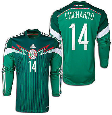 ADIDAS MEXICO CHICHARITO LONG SLEEVE HOME JERSEY FIFA WORLD CUP BRAZIL 2014.