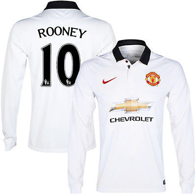 NIKE W. ROONEY MANCHESTER UNITED LONG SLEEVE AWAY JERSEY 2014/15