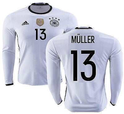 ADIDAS GERMANY EURO 2016 THOMAS MULLER LONG SLEEVE HOME JERSEY White/Black.