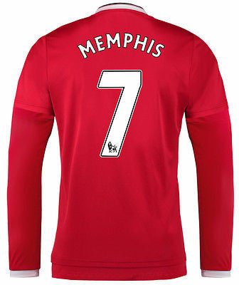 ADIDAS MEMPHIS DEPAY MANCHESTER UNITED LONG SLEEVE HOME JERSEY 2015/16