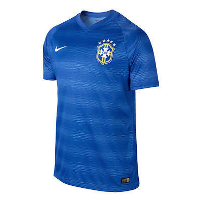NIKE BRAZIL AUTHENTIC AWAY JERSEY FIFA WORLD CUP BRASIL 2014 BLUE PLAYERS VERSION.