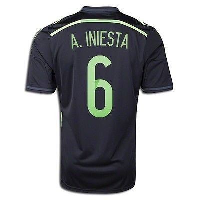 ADIDAS A. INIESTA SPAIN AWAY JERSEY FIFA WORLD CUP BRAZIL 2014 ESPAÑA BLACK