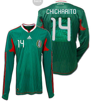 ADIDAS CHICHARITO MEXICO LONG SLEEVE HOME JERSEY 2010 FIFA WORLD CUP.