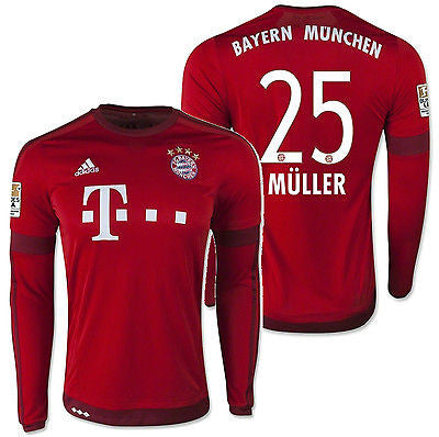 ADIDAS THOMAS MULLER BAYERN MUNICH LONG SLEEVE HOME JERSEY 2015/16
