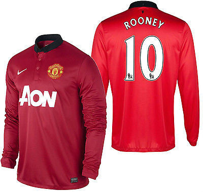 NIKE W. ROONEY MANCHESTER UNITED LONG SLEEVE HOME JERSEY 2013/14 PREMIER LEAGUE