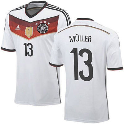 ADIDAS THOMAS MULLER GERMANY 4 STAR HOME JERSEY FIFA WORLD CUP 2014 CHAMPIONS.