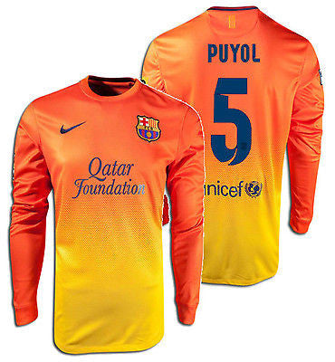 NIKE CARLES PUYOL FC BARCELONA LONG SLEEVE AWAY JERSEY 2012/13