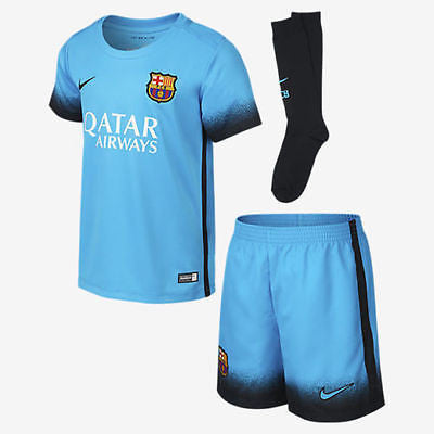 NIKE FC BARCELONA LITTLE BOYS THIRD KIT 2015/16 LA LIGA SPAIN BOYS Light Curren