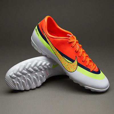 NIKE CR7 MERCURIAL VICTORY IV CR TF TURF SOCCER SHOES White/Total Crimson/Volt