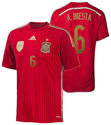 ADIDAS ANDRES INIESTA SPAIN HOME JERSEY FIFA WORLD CUP BRAZIL 2014