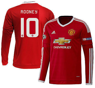 ADIDAS WAYNE ROONEY MANCHESTER UNITED UEFA CHAMPIONS LEAGUE LONG SLEEVE HOME JERSEY 2015/16 1