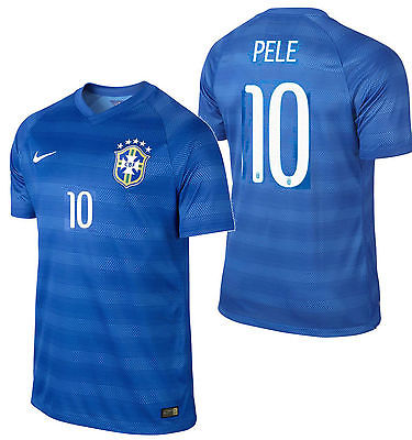 NIKE PELE BRAZIL AUTHENTIC AWAY MATCH JERSEY FIFA WORLD CUP BRASIL 2014.