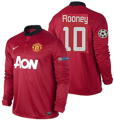 NIKE W. ROONEY MANCHESTER UNITED UEFA CHAMPIONS LEAGUE LS HOME JERSEY 2013/14.