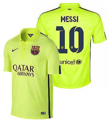 45ac40bfe NIKE LIONEL MESSI FC BARCELONA THIRD 3RD JERSEY 2014 15 Volt Loyal Blue
