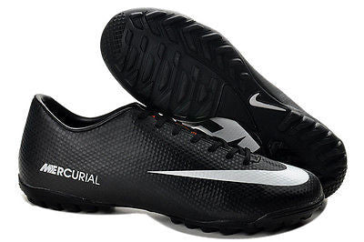 NIKE MERCURIAL VICTORY IV TF TURF SOCCER SHOES FOOTBALL BLACK/WHITE