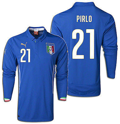PUMA ANDREA PIRLO ITALY LONG SLEEVE HOME JERSEY FIFA WORLD CUP BRAZIL 2014.