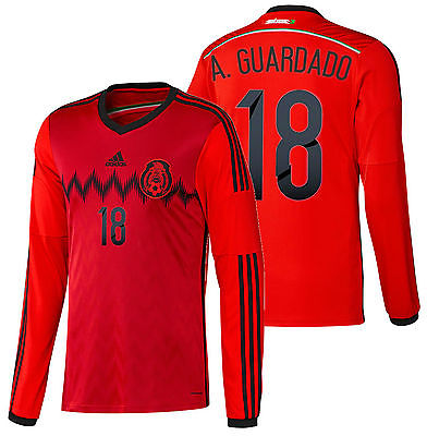 86b692f12b5 ADIDAS ANDRES GUARDADO MEXICO LONG SLEEVE AWAY JERSEY FIFA WORLD CUP BRAZIL  2014