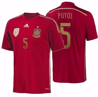 ADIDAS CARLES PUYOL SPAIN HOME JERSEY FIFA WORLD CUP BRAZIL 2014.