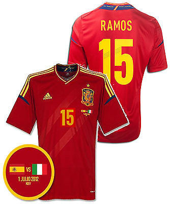 ADIDAS SERGIO RAMOS SPAIN UEFA EUROCUP 2012 FINAL GAME JERSEY.