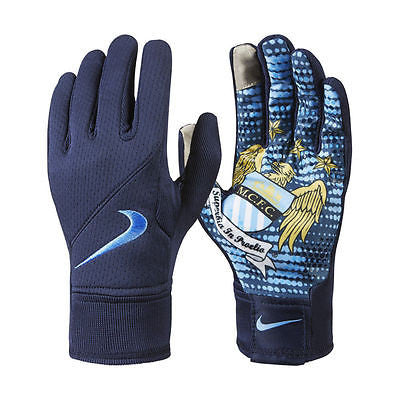 NIKE MANCHESTER CITY FIELD PLAYER GLOVES TRAINING SOCCER Navy/Blue