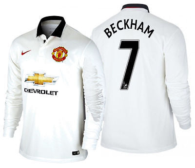 NIKE DAVID BECKHAM MANCHESTER UNITED LONG SLEEVE AWAY JERSEY 2014/15.