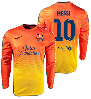 official photos cdffb 09091 NIKE LIONEL MESSI FC BARCELONA LONG SLEEVE AWAY JERSEY 2012/13