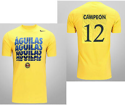 NIKE CLUB AMERICA AGUILAS SOCCER CORE TYPE T-SHIRT YELLOW CAMPEONES 12